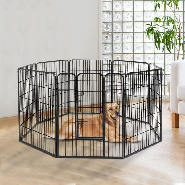 "PawHut 8 Panel Dog Pet Playpen 40"" Heavy Duty Metal Exercise Enclosure Fence Iron Indoor/Outdoor Pen Cat 24"" 32"" 39.4"" Black 