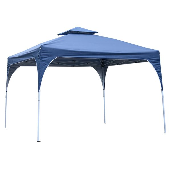 Outsunny 10'x10' Easy Pop-Up Canopy Vented Roof w/ Carry Bag Blue|AOSOM.CA