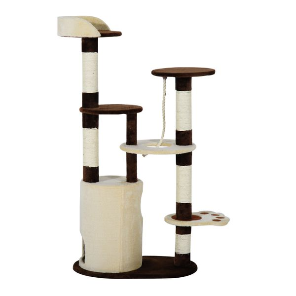 Pawhut 55-inch Cat Tree Scratching Furniture with Condo Post (Coffee/Cream)|Aosom Canada