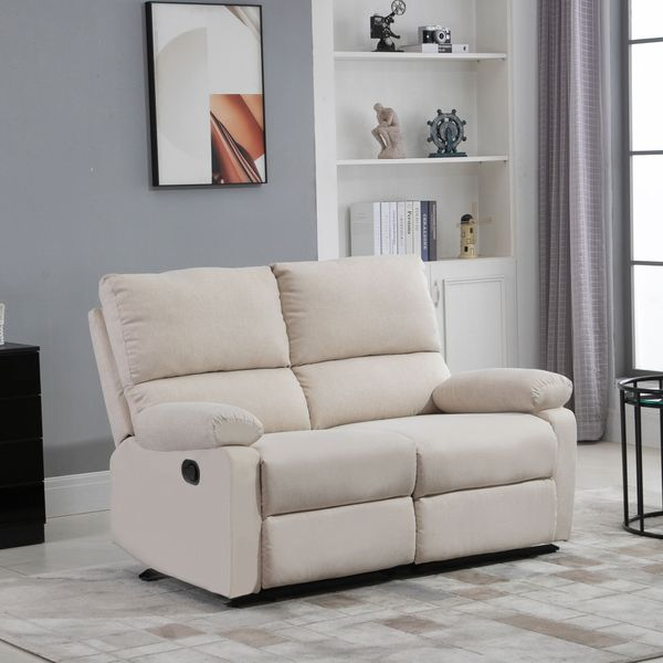 HOMCOM Modern Manual Recliner 2 Seater Sofa Reclining Couch Linen Fabric Upholstered Home Theater with Footrest, Beige
