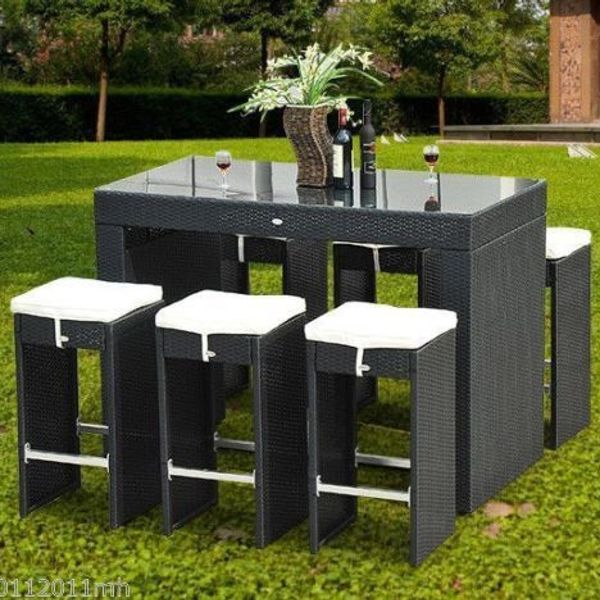 Outsunny 7 Pcs Bar Rattan Set 1 Table w/ 6 Stools and Cushion Wicker Furniture Dining Set Garden|Aosom Canada