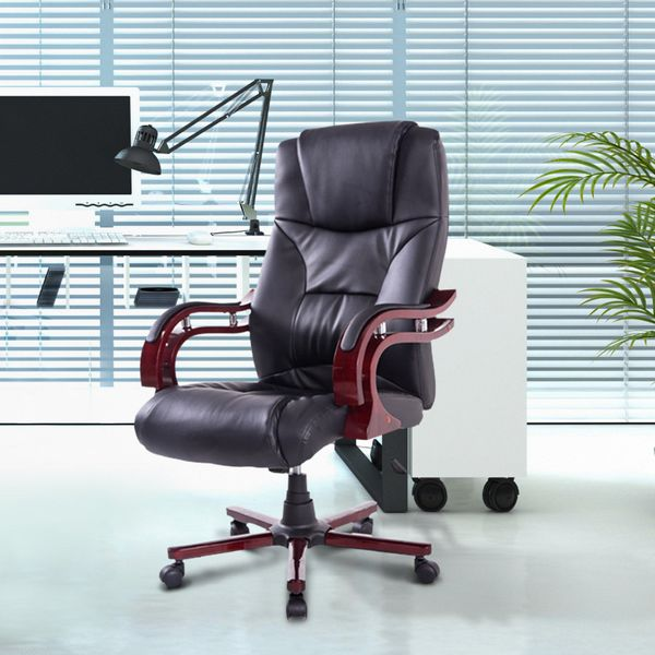 HomCom PU Leather / Wood High Back Executive Office Chair Deluxe Seat Swivel Ergonomic Computer Chair Home Furniture - Black | Aosom Canada