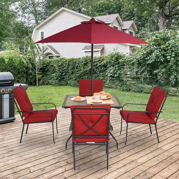 Outsunny 6pcs Sling Folding Patio Dining Set Stacking Chairs Outdoor Furniture Red w/ Umbrella | Aosom Canada
