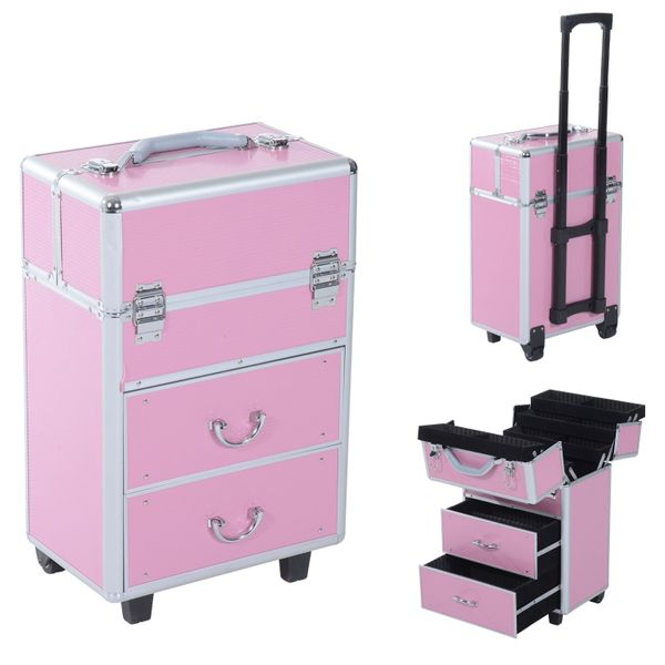Soozier 4 Tier Lockable Cosmetic Makeup Train Case with Extendable Trays Professional Rolling Salon Beauty Jewelry Organizer Trolley w/ 2 Wheels Aluminum Storage Box Pink | Aosom Canada