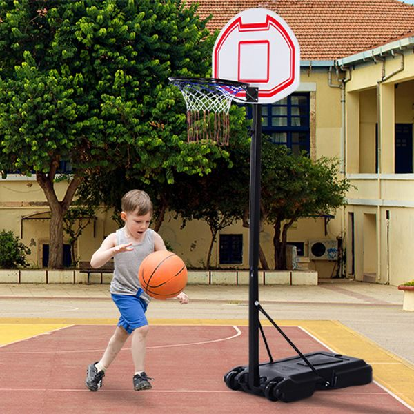 Soozier Portable Basketball Stand System Junior Adjustable W/ Wheels Height Multi-color | Aosom Canada