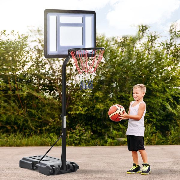 Soozier Basketball Stand Adjustable Basketball Hoop Backboard w/ Wheels For Kids Adults | Aosom Canada
