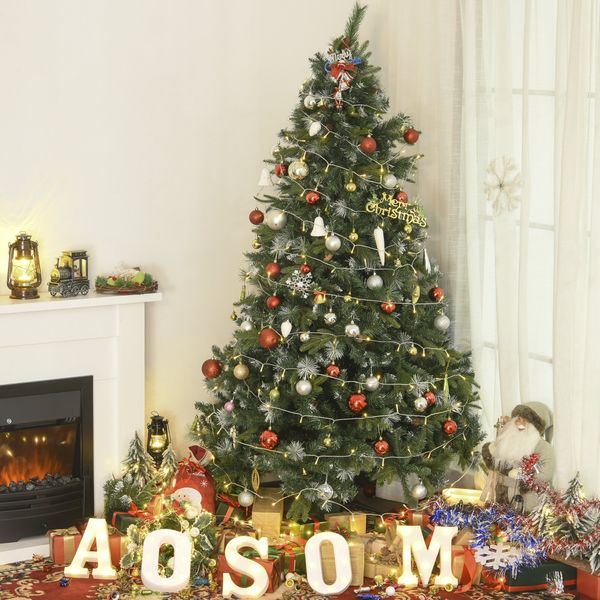 HOMCOM Artificial Christmas Décor Tree Snow dusted Easy Setup with Foldable Stand