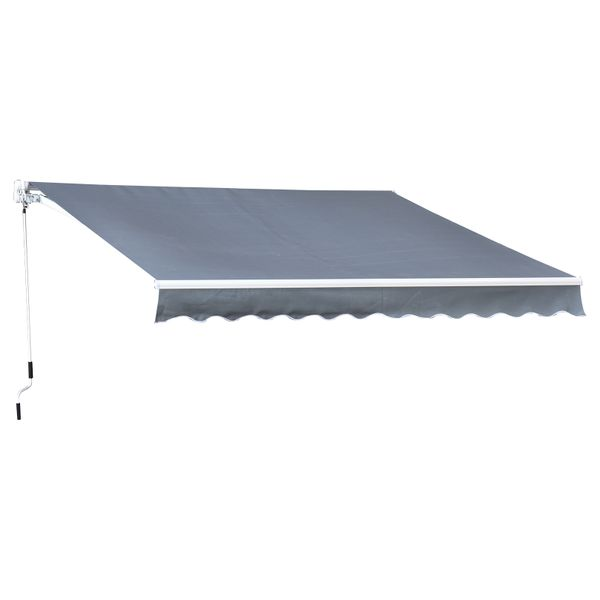 Outsunny 10'X8' Manual Retractable Patio Awning Grey|AOSOM.CA