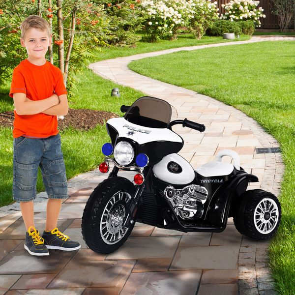 Qaba 6V Kids Ride On Police Motorcycle Baby Electric Car Battery Powered Trike Car Toy Gift | Aosom Canada