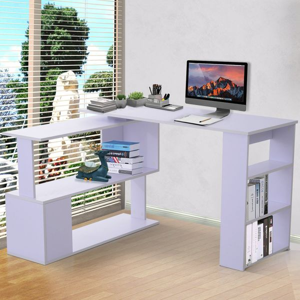 HOMCOM 360° Rotating Corner Desk L-Shaped PC Workstation Student Writing Table with Storage Shelf Home Office White|Aosom Canada