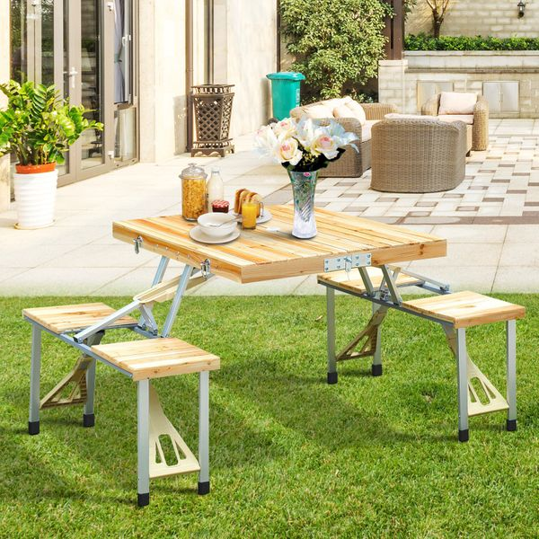 Outsunny Portable Wooden Dining Picnic Table Chair Set Folding Junior Outdoor Travel Use|Aosom.ca