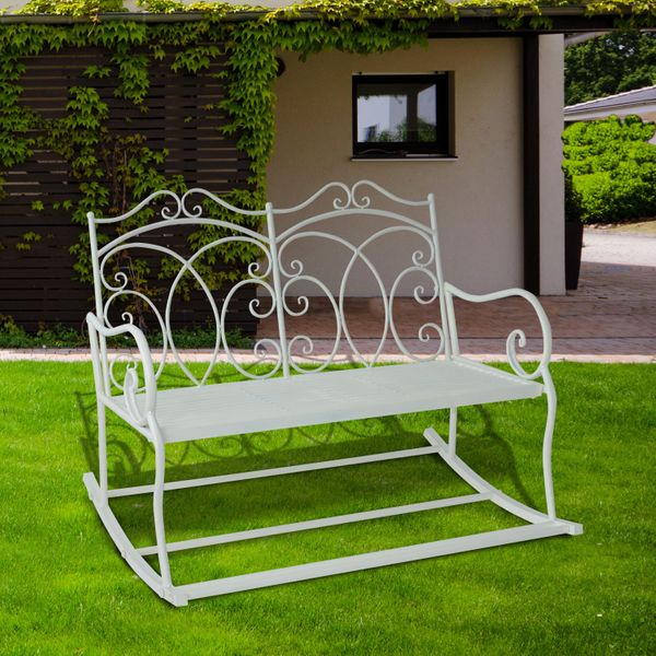 Outsunny 2 Seater Metal Garden Bench Outdoor Rocking Chair Chic White Loveseat | Aosom Canada