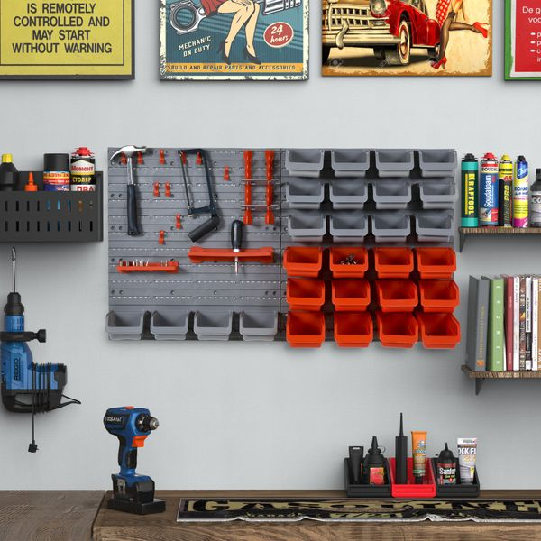 DURHAND 44 Piece Wall Mounted Tool Organizer Rack Kit with Storage Bins Pegboard and Hooks Red Bin Board Garage Workshop | Aosom Canada