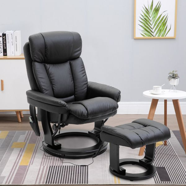 HOMCOM Massage Sofa Recliner Chair with Footrest 10 Vibration Point Faux PU Leather Black
