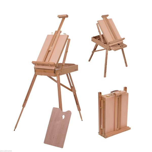 HOMCOM Wooden Easel Folding French Artists Easel Set Portable Art Painters Tripod Sketch Craft Stand Beech Wooden Box w/ Pallet   Aosom Canada
