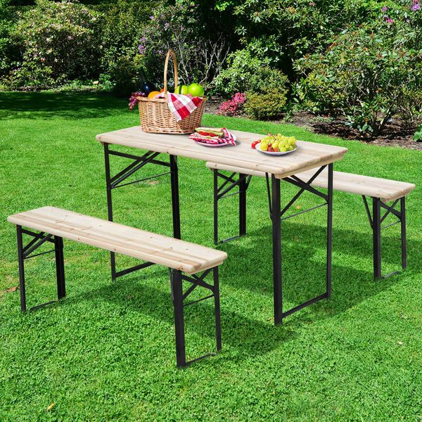 """Outsunny 47.2"""" Portable Heavy Duty 3 Pieces Picnic Table and Bench Set"""