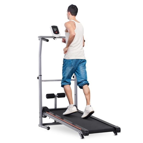 Soozier Manual Walking Treadmill Sit Up Station 2-in-1 Portable Incline Sit-up Machine Folding Cardio Fitness Exercise Home Gym Machine Grey | Aosom Canada