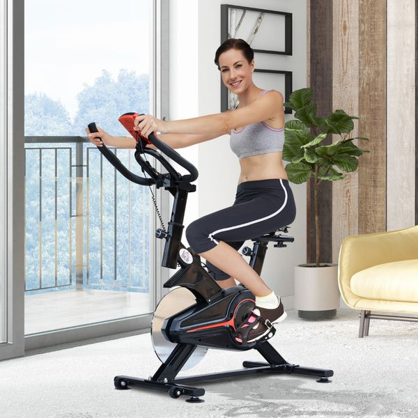 Soozier Bike Trainer Indoor Cycling Cardio Workout Fitness Equipment Stationary Spinning Upright Home Gym Exercise Bicycle Aosom Canada