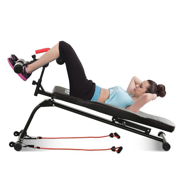 Soozier/HOMCOM Multifunctional Sit Up and Dumbbell Bench  Exercise Utility Bench with Resistant Rope for Home  Office and Gym  Black Incline Abs AOSOM.CA