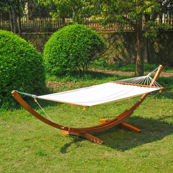 Outsunny 2-Person Swing Hammock with Stand Patio Garden Bed FSC Certified Larch Wood Chair Furniture Aosom Canada