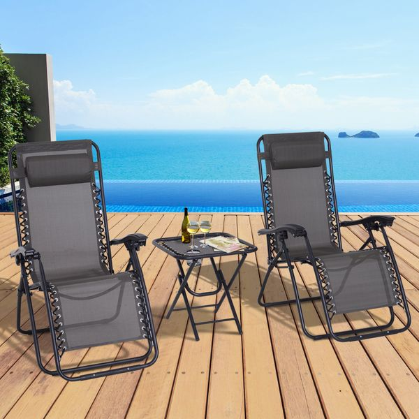 Outsunny 3pcs Zero Gravity Lounger Chair Set Patio Chaise Lounge Side Table Set w/ Cup Holder Grey Garden Recliner | Aosom Canada