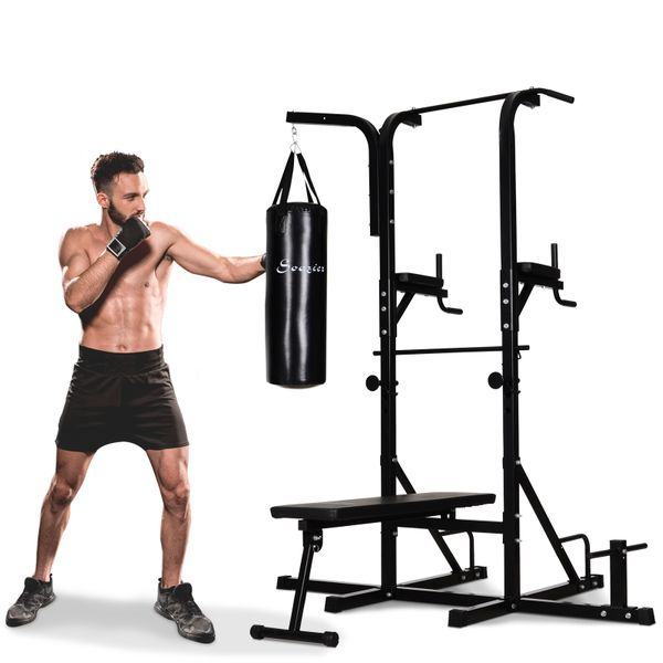 """Soozier 86"""" Full Body Power Tower Home Gym Fitness Station with Punching Bag Adjustable Sit Up Bench Workout   Aosom Canada"""
