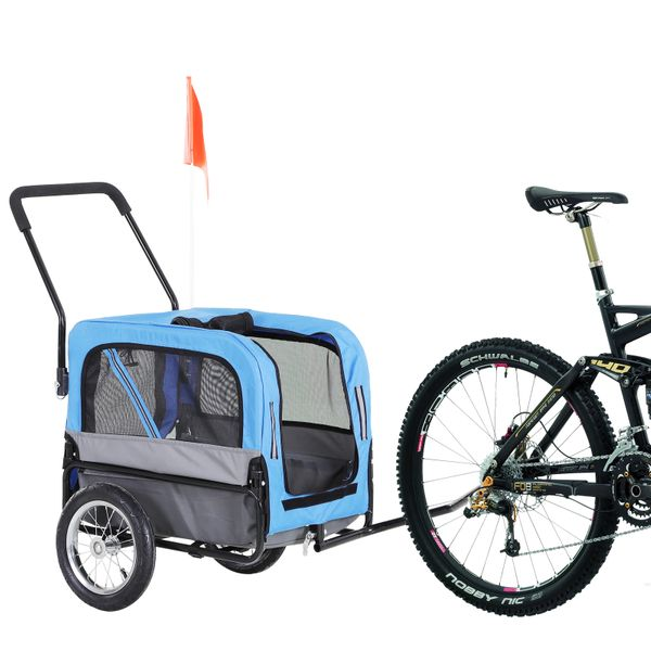 PawHut 2-In-1 Dog Bicycle Trailer / Stroller Pet Carrier Small Animal Folding Walk with 360 Swivel Wheel Hitch Suspension Safety Flag | Aosom Canada