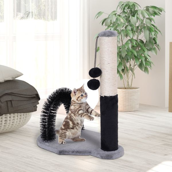 """PawHut 20.5""""H Cat Scratching Post Sisal Rope Scratcher Tree Covered Soft Smooth Plush, with Arch Self Groommer 2 Balls Sisal for Cats Kittens 
