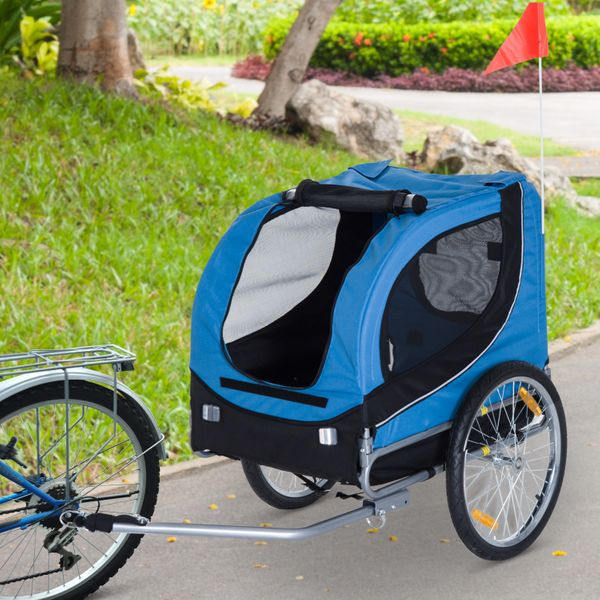 PawHut Pet Bike Trailer Bicycle Dog Cat Pet Cage Stroller Travel Folding Carrier Travel Carrier Foldable Blue | Aosom Canada