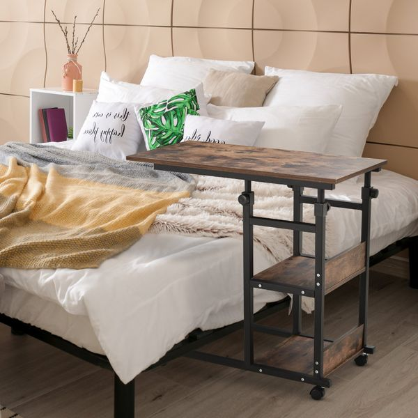 HOMCOM Industrial Mobile Sofa Side Table C-Shaped Rolling Cart with 3-Tier Storage Shelving, Adjustable Height, Wheels