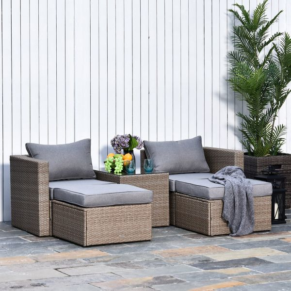 Outsunny 5 Piece Rattan Wicker Outdoor Patio Conversation Set 2 Cushioned Single Sofa Chair Foot Stool Glass End Desk Coffee Table Black Cushion | Aosom Canada