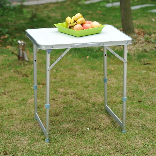 Outsunny Folding Adjustable Patio Picnic Table Portable Camping Dining Lunch Table Aluminum Frame Silver