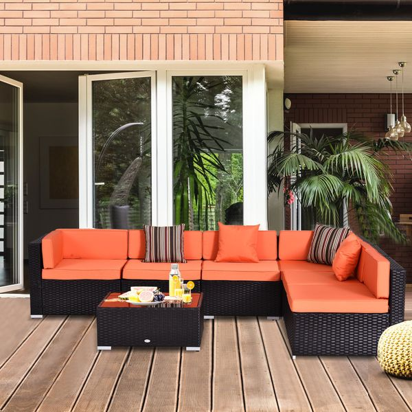 Outsunny 7 Piece Rattan Sofa Set Summer Patio Wicker Garden Outdoor Furniture Orange | Aosom Canada