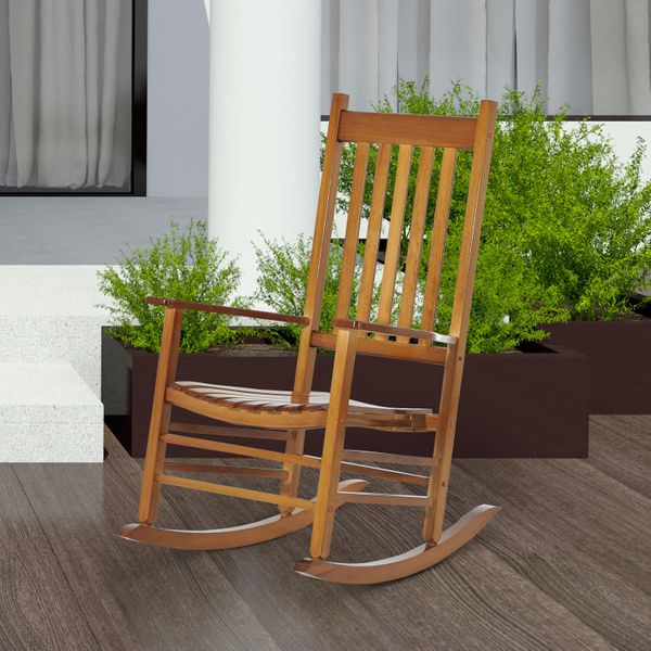 Outsunny Versatile Wooden Indoor / Outdoor High Back Slat Rocking Chair - Patio | Aosom Canada