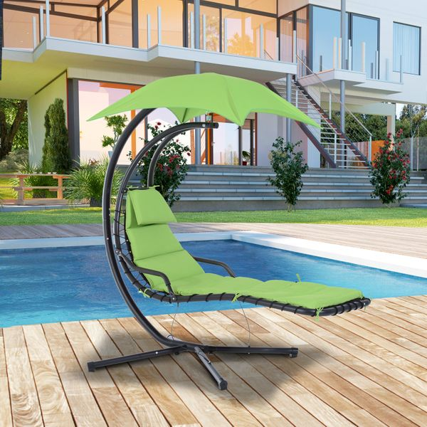 Outsunny Floating Chaise Lounge Arc Stand Canopy Umbrella | Aosom Canada