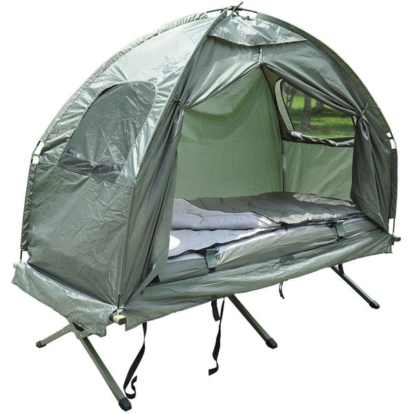 Outsunny 4-in-1 Multi-functional Outdoor Compact Folding Shelter Tent Hiking Camping Bed Cot Combo with Sleeping Bag Air Mattress Pillow, Army Green|Aosom.ca