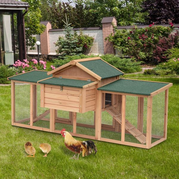 """Pawhut 82"""" Wooden Backyard Hen House Chicken Coop 80""""×33.5""""×37"""" Outdoor Garden Deluxe Poultry Hens Nesting Boxes Run Large 80-inch Large w/ Box  Aosom Canada"""