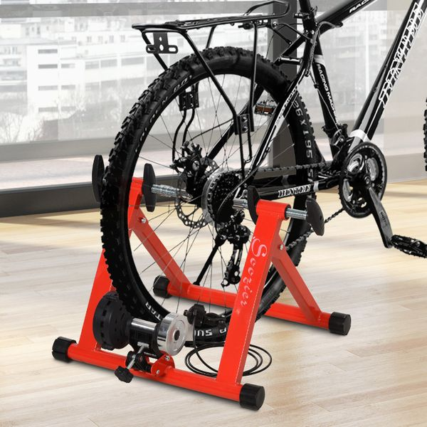 Soozier Magnetic Bike Bicycle Trainer Stand Indoor Exercise w/5 Levels of Resistance Red