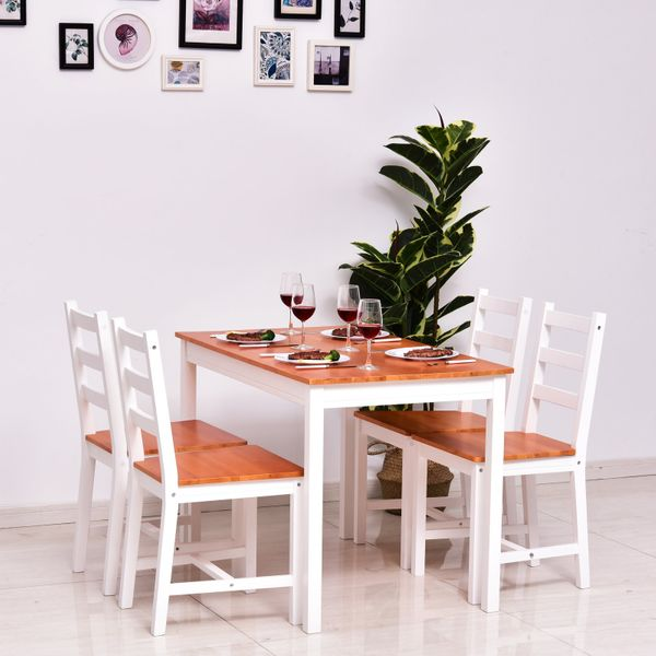 HOMCOM 5 Piece Solid Pine Wood Table and High Back Chair Dining Set - White/Natural Wood Wooden with 4 chairs Home White Honey | Aosom Canada
