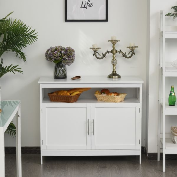 HOMCOM Wooden Console Table with Open Shelf and 2 layers Cabinet  Kitchen Furniture