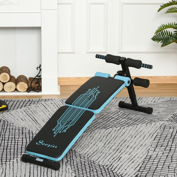 Soozier Multifunctional Foldable Sit Up Bench Adjustable Workout Exercise Bench Ideal for Home, Office, and Gym, Black   Aosom Canada