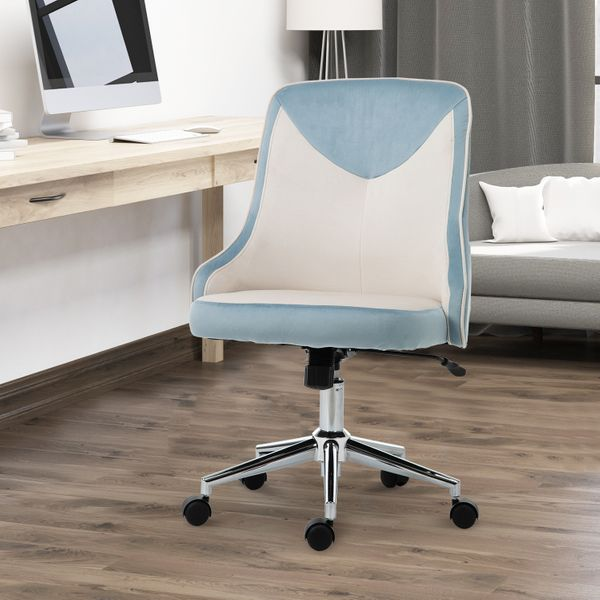 Vinsetto Leisure Office Chair Velvet-Feel Fabric Computer Armless Rocking w/ Wheels