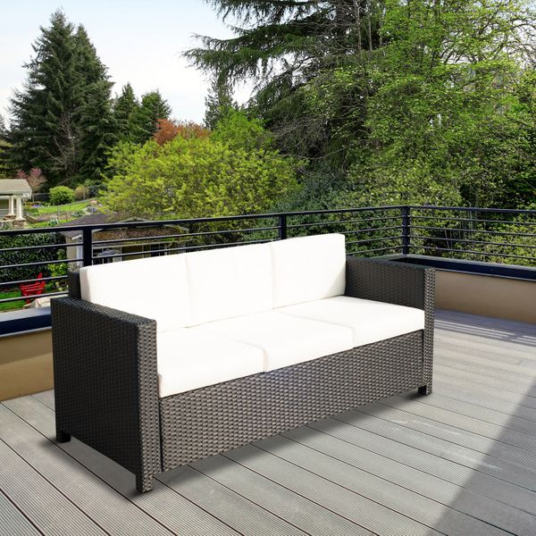 Outsunny Deluxe 3 Seat Rattan Wicker Sofa Garden Outdoor Patio Furniture with Cushion, Black