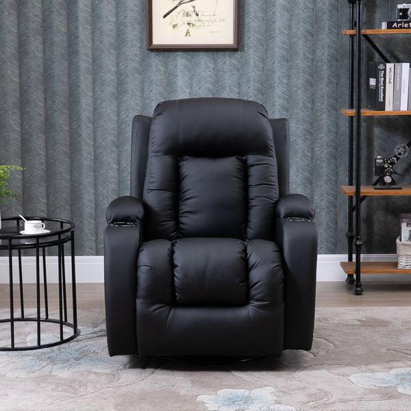 HOMCOM Faux Leather Heated Vibrating Massage Recliner Chair with Remote Black | Aosom Canada