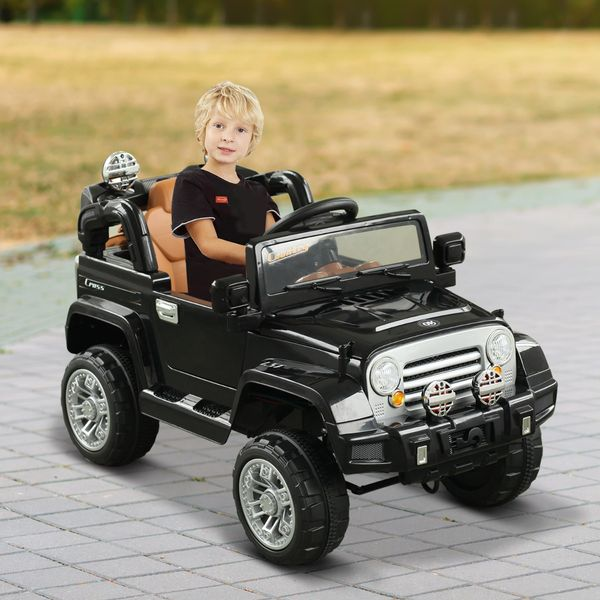 Aosom 12V Kids Electric Ride On Toy Truck Jeep Car With Remote Control 2 Speeds Lights Mp3 Lcd Indicator Black
