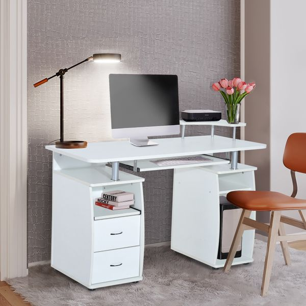 HOMCOM Computer Desk with Telephone Stand Table PC Desktop w/ Drawer Home Office Furniture Workstation White | Aosom Canada