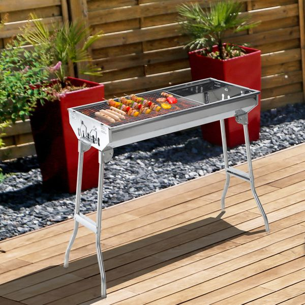 """Outsunny 29"""" Portable Folding Stainless Steel Charcoal BBQ Grill Outdoor Camping Backyard Cook Silver