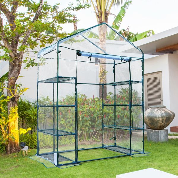 Outsunny 4.7x2.4x6.4ft Walk-in Greenhouse with 4 Tier Shelves Portable Transparent Aosom.ca