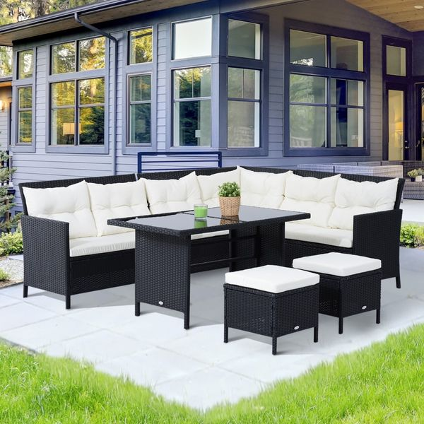 Outsunny 6pcs Dining Wicker Rattan Set Garden Outdoor Lounge Table Patio Furniture 8 Seats Sofa Sectional Couch and Chair w/ Cushions Black | Aosom Canada