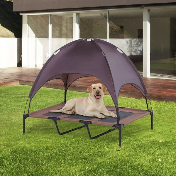 PawHut Elevated Pet Bed Dog Foldable Outdoor Cot Coffee